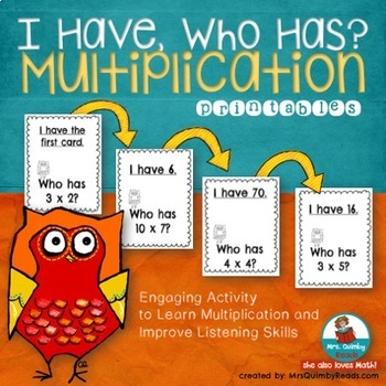"""Multiplication Activity """"I Have..Who Has?""""   Math Practice"""