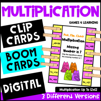 Multiplication Facts Pick, Flip Check Cards