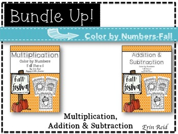 Multiplication, Addition & Subtraction Color by Numbers-Fa