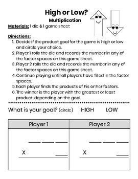 High or Low Game Bundle (multiplication, addition, & subtraction)