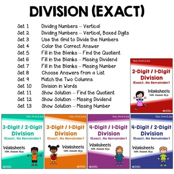 Multiplication And Division Practice Multiplication & Division Worksheets Bundle