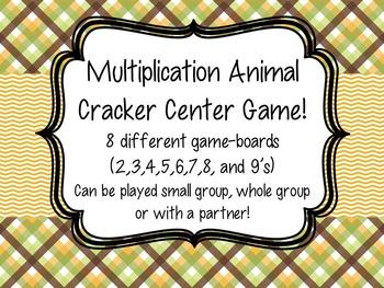 Multiplication Animal Cracker Safari Center Game 8 gameboards 2s-9's