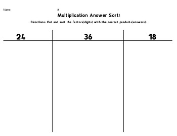 Multiplication Answer Sort - 24/36/18