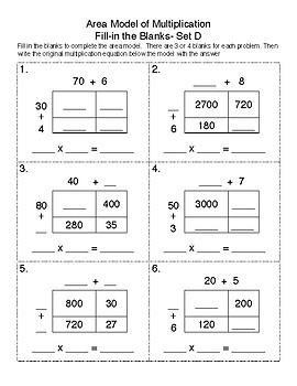 Multiplication Area Model Fill-In