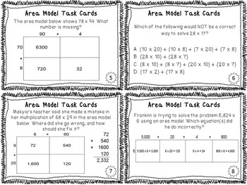 Multiplication Area Model Test Prep Task Cards {4.NBT.B.5}