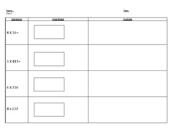 Multiplication Area Model tiered worksheets