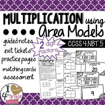 Multiplication Area Models CCSS 4.NBT.5