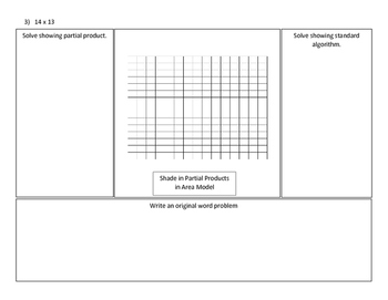 Multiplication Area Models and Partial Product practice