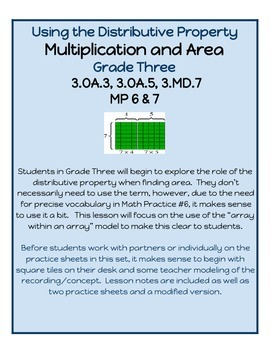 Multiplication, Area and the Distributive Property - Oh My!  3.OA.5