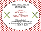 Multiplication: Area model and partial product practice pages