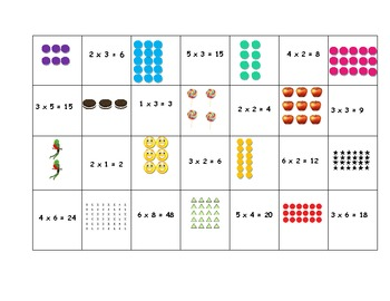 multiplication array matching game by kristen jacobson tpt. Black Bedroom Furniture Sets. Home Design Ideas
