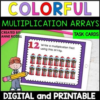 Multiplication Array Task Cards (24 task cards)