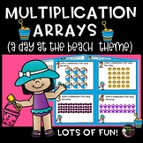 Multiplication Array Task Cards- A Day at the Beach Theme