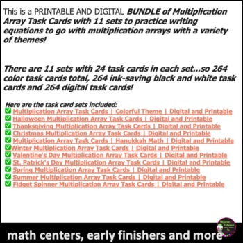 Multiplication Array Task Cards BUNDLE- 11 Sets of Task Cards!