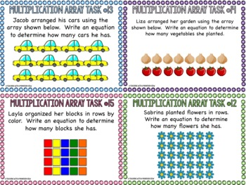 Multiplication Array Task Cards by Teaching With a Mountain View