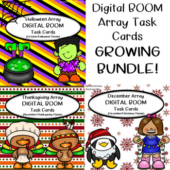 Multiplication Array Task Cards-DIGITAL BOOM CARDS- GROWING BUNDLE