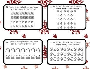 Multiplication Array Task Cards- December/Christmas Theme