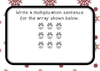 Multiplication Array Task Cards- December/Christmas Theme (DIGITAL BOOM CARDS)
