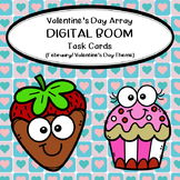 Multiplication Array Task Cards- February/Valentine's Day Theme (BOOM CARDS)