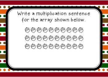 Multiplication Array Task Cards- November/Thanksgiving Theme (BOOM CARDS)