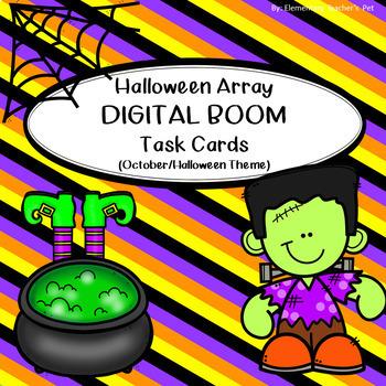 Multiplication Array Task Cards- October/Halloween Theme (DIGITAL BOOM CARDS)