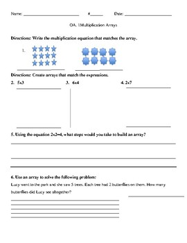 multiplication array worksheet by amy j  teachers pay teachers multiplication array worksheet