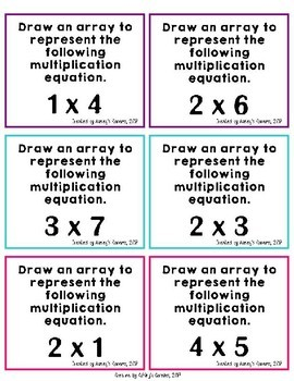 3rd Grade Multiplication: Array Worksheets and Task Cards (3.OA.A.1)