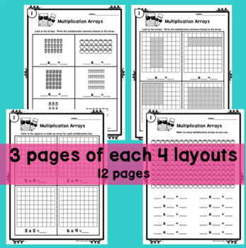 Multiplication Array Worksheets and poster / anchor chart