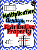 Multiplication, Arrays, & Distributive Property: Vocab, Practice, & Quiz