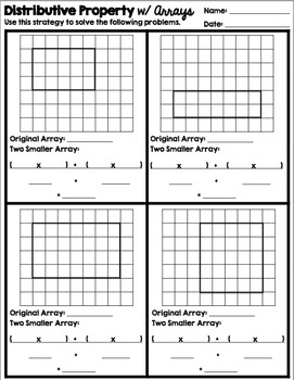 Multiplication, Arrays, & Distributive Property: Vocab, Practice, & Quiz