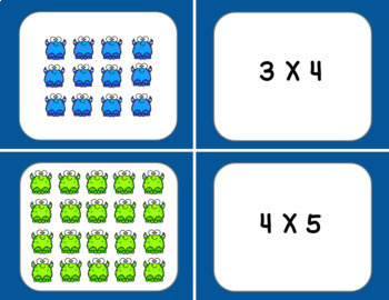 Multiplication Arrays Matching Cards