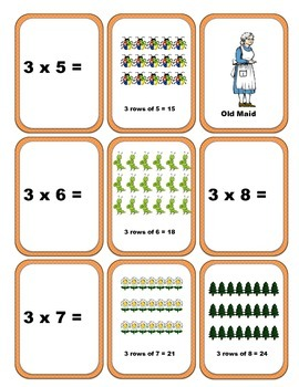 Multiplication Arrays - Old Maid Game (3x table facts)