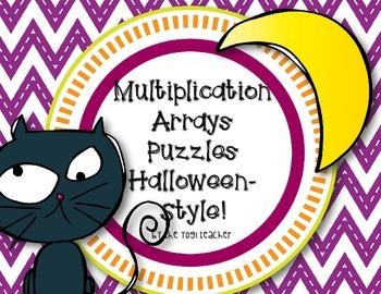 Multiplication Arrays Puzzles-Halloween Style!