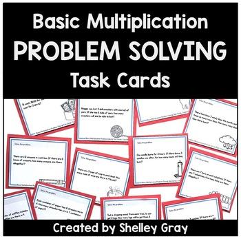 Basic Multiplication Problem Solving Task Cards | Basic Multiplication Facts