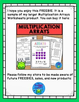 Multiplication Arrays Worksheet - FREEBIE