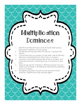 Multiplication Arrays and Product Dominoes 1X-4X