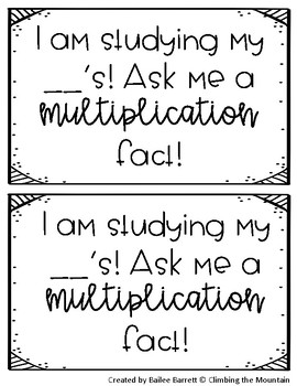 Multiplication Ask Me Tags
