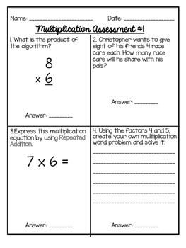 Multiplication Assessments
