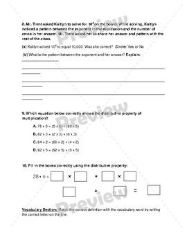 Multiplication Assessment 5NBT5b & 5NBTA2