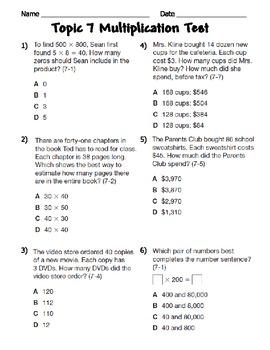 Multiplication Assessment CCSS 4.NBT.5