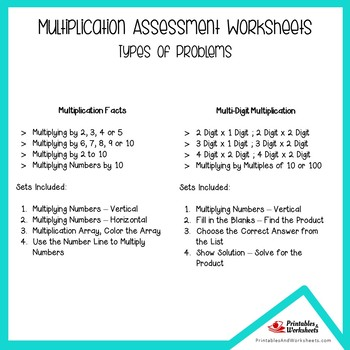 Mixed Multiplication Assessment Worksheets