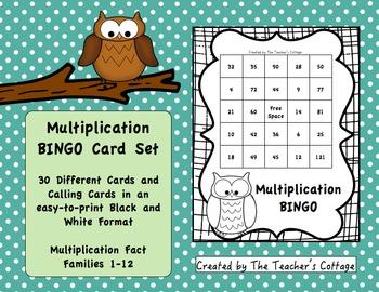 Multiplication BINGO Card Set