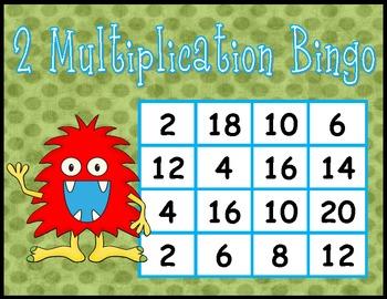 Multiplication BINGO Freebie - 2's facts