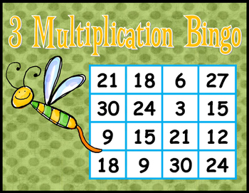 Multiplication BINGO Freebie - 3's facts