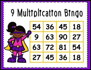 Multiplication BINGO freebie - 9's facts