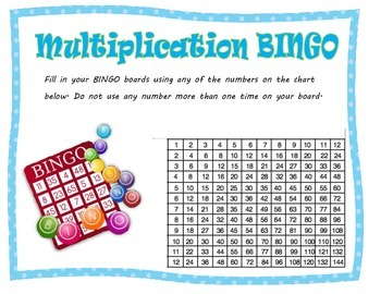 Multiplication BINGO to Build Fluency {Facts up to 12 x 12}