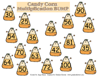 Multiplication BUMP Candy Corn Theme Multiply numbers 5-10