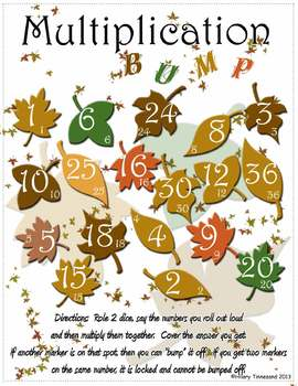 Thanksgiving Multiplication BUMP Game - Fall Leaves