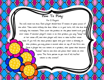 Multiplication BUMP Multiplying Numbers 1-6 - Spring Theme