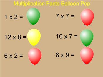 Multiplication Balloon Pop (Factors 0 -12) - Smartboard